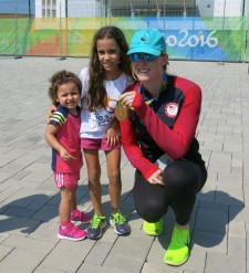 In her Drug-Free World cap and with gold medal in hand, Emily Regan, of the U.S. Women's Eight Rowing Team, gives golden advice to Rio kids--play and stay drug-free.